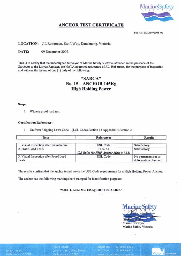 Certification - Anchor Right Australia